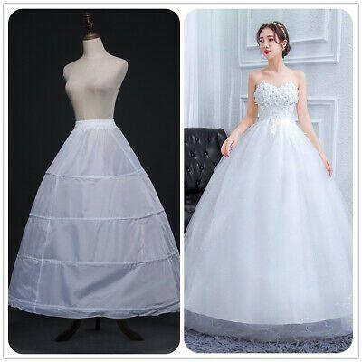 3 Hoops Wedding Bridal Petticoat A Line Underskirt Skirt White Crinoline Slip Ebay In 2020 White Ball Gowns Fancy Skirts Bridal Dresses