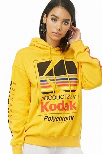 0e6c5db125ec3 Fleece Kodak Graphic Hoodie   Products in 2019   Hoodies, Cute jackets,  Fleece hoodie