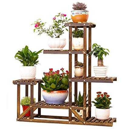 Amazon Com Wooden Plant Flower Display Stand Wood Pot Shelf Storage Rack Outdoor Indoor 6 Pots Holder 96x95x25 Wooden Flowers Wooden Plant Stands Plant Stand