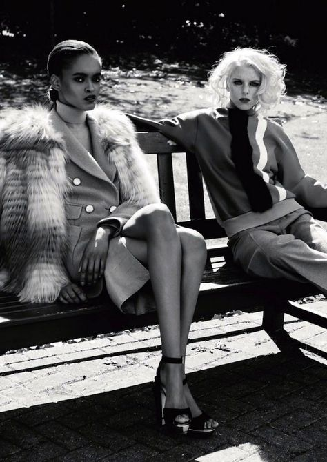 portia okotcha and abi rose by iain mckell for harper's bazaar russia november 2012 | fashion editorial | girlfriends | bench | park | sunshine | hanging out | sophisticated |