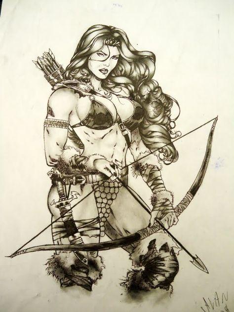 Sexy drawings, pencil art, art drawings, conan the barbarian, fantasy women Red Sonja, Warrior Girl, Fantasy Warrior, Fantasy Women, Fantasy Girl, Character Portraits, Character Art, Fantasy Characters, Female Characters