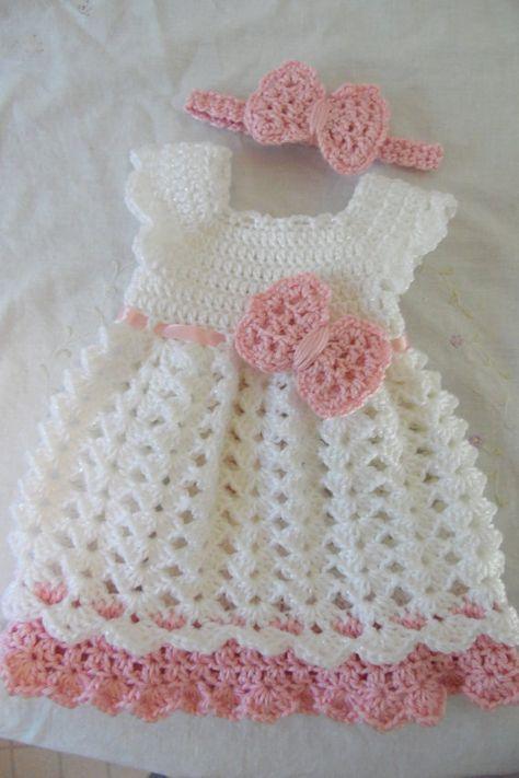 Vestidos a crochet para nina recien nacida