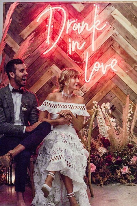 The Biggest Wedding Trends 2019 � wedding trends 2019 bohemian wooden backdrop with neon romantic sign lilly red #weddingforward #wedding #bride #weddingdecor #weddingtrends2019