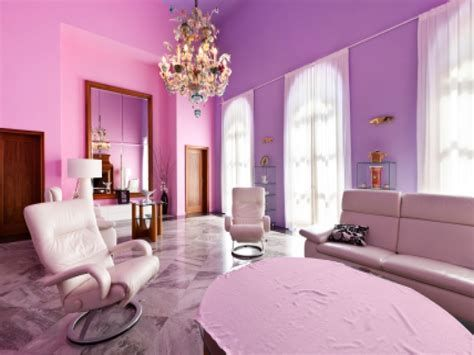 Pink And Purple Painted Room In 2020 Purple Living Room Room
