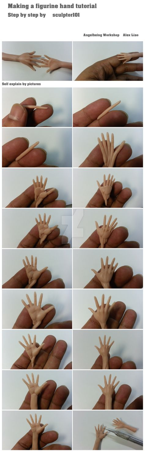 It took me a while to make this simple tutorial of how to make figurine hand. Wish I have an extra hand to take pictures. It is pretty much self explain of step by step in the picture comparison. (the biscuit) Polymer Clay Kunst, Polymer Clay Dolls, Polymer Clay Crafts, Clay Clay, Polymer Clay People, Hands Tutorial, Doll Tutorial, Sculpting Tutorials, Clay Tutorials
