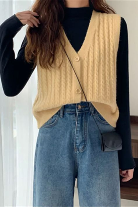 V-Neck Single-breasted Camel Sweater Cardigan For Women 2021 New Autumn Loose Sleeveless Knitted Vest Female Outerwear