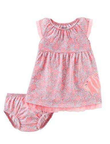 Carters Baby Girls Pink 3 Piece Flower Diaper Set