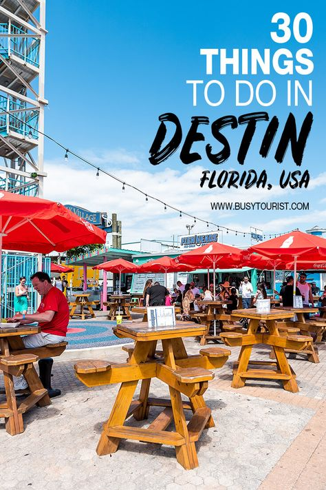Wondering what to do in Destin FL? This travel guide will show you the best attractions activities places to visit & fun things to do in Destin Florida. Start planning your itinerary & bucket list now! Travel Tips Tips Travel Guide Hacks packing tour Destin Florida Vacation, Destin Beach, Florida Travel, Florida Beaches, Beach Trip, Pensacola Florida, Destin Florida Restaurants, Miramar Beach Florida, Santa Rosa Beach Florida