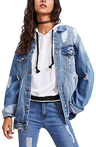 Amazing offer on Womens Denim Jacket Ripped Coat Punk Style