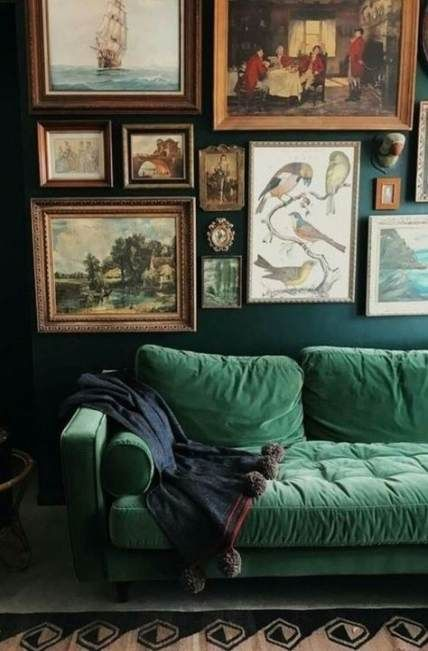 15 Best Ideas Wall Collage Living Room Couch Interior Design Vintage Living Room Vintage Living Room Design Living Room Pictures Decoration living room colorful green