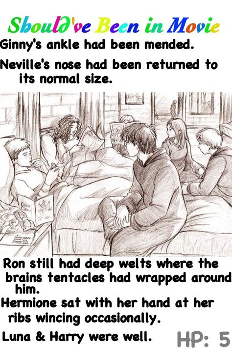 Harry Potter and the Order of the Phoenix Should've Been in Movie Harry Ron Hermione Ginny Neville Luna after Ministry of Magic fight hospital wing