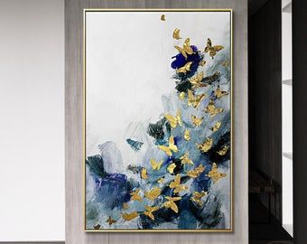 Gold Leaf And Silver Leaf Set Of 2 Wall Art Abstract Butterfly Etsy Etsy Wall Art Acrylic Painting Canvas Frames On Wall