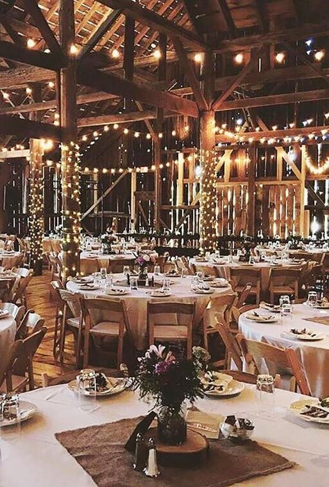Romantic Barn Wedding Decorations ★ barn wedding decorations lighting decor starrynightbarn Create a romantic barn wedding decorations, spend some money for certains in rustic style, pay attention to lightening and of course use straw bale seating. Barn Wedding Venue, Wedding Ceremony Decorations, Wedding Themes, Wedding Ideas, Fall Barn Weddings, Decor Wedding, Barns For Weddings, Barn Party Decorations, Barn Wedding Lighting