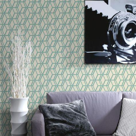 Un Joli Mur Aux Formes Geometriques Couleur Vert D Eau Deco