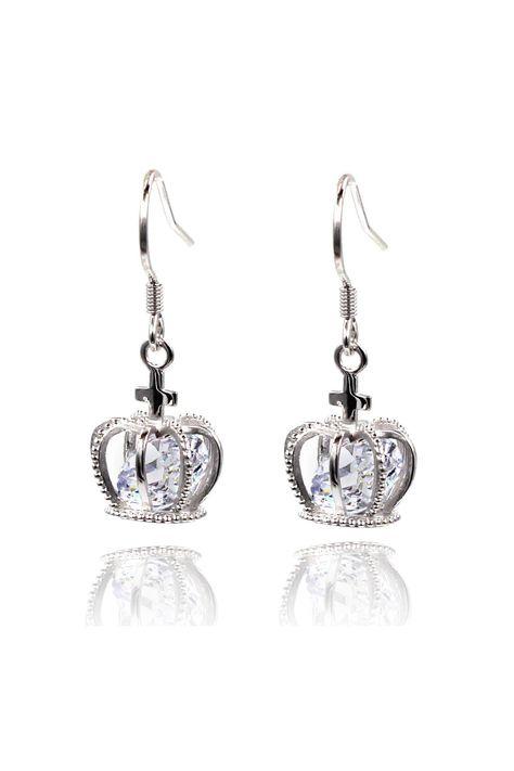mini crown crystal earrings - Silver