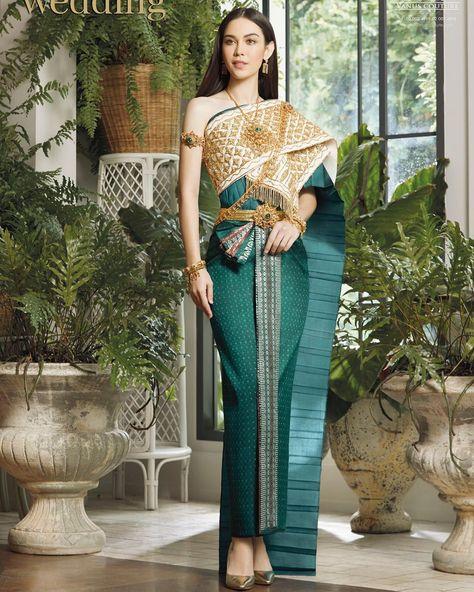 Traditional Thai Clothing, Traditional Fashion, Traditional Dresses, Cambodian Wedding Dress, Thai Wedding Dress, Indonesian Wedding, Thai Fashion, Thai Dress, Thai Style