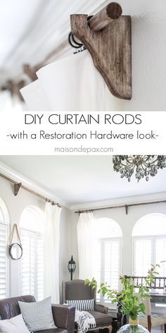 DIY Curtain Rods (Restoration Hardware Inspired) - Maison de Pax - these are awesome! DIY real wood curtain rods with a Restoration Hardware look for a fraction of th - Rustic Furniture, Diy Furniture, Furniture Design, Furniture Hardware, Chair Design, Modern Furniture, Casa Rock, Wood Curtain Rods, Farmhouse Curtain Rods