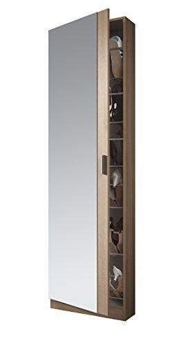 Medidas: 180 x 50 x 20 cm de Fondo Habitdesign 007866F Armario Zapatero con Espejo Color Roble Natural