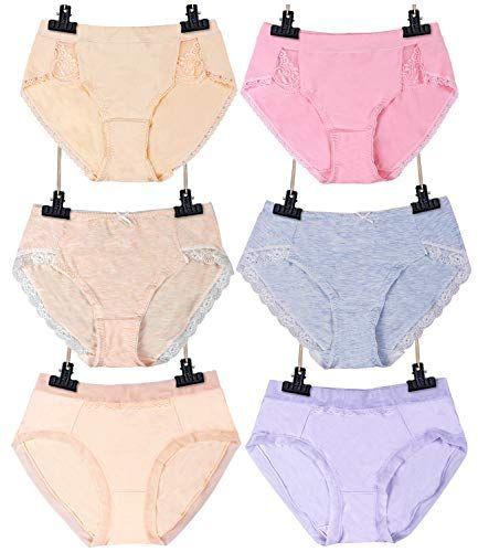 SEXYWG Culottes Femmes Coton Basic Slip Doux sous-Vêtements Femme Coton  Culottes Contrôle Ventre (Lot de 6) d2a88b01be7
