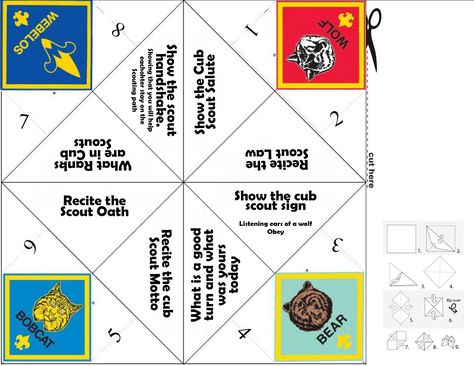 Bobcat Fortune Teller Good to send home with the boys It might - cootie catcher template