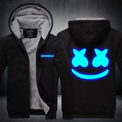 DJ Marshmello Hoodie Sweater Reflect Light Printed Coat Thicken Luminous Jacket