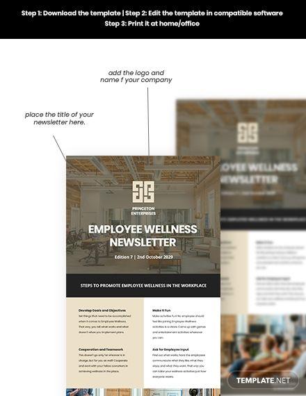 Employee Wellness Newsletter Template Word Doc Psd Apple Mac Pages Google Docs Html5 Outlook Employee Wellness Newsletter Templates Word Newsletter Templates