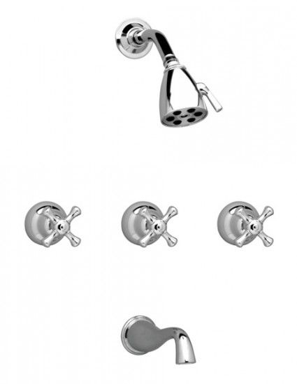 Aquasource Chrome 3 Handle Tub And Shower Faucet With Single