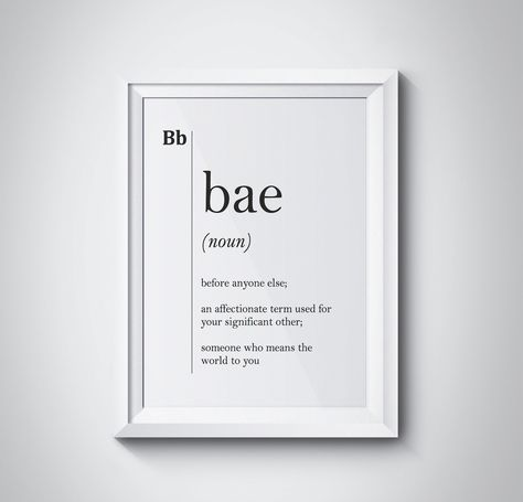 Bae Definition Print Boyfriend Girlfriend College Gift Dorm Home Decor Dictionary Wall Art Scandinavian Black & White Instant Download  by HQstudio on Etsy