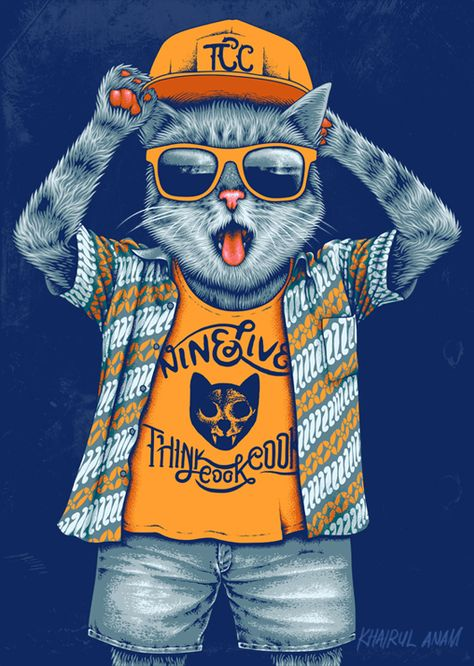 Weekly Inspiration Dose #050 - Indieground Design #graphicdesign #illustration #ninelives #cat