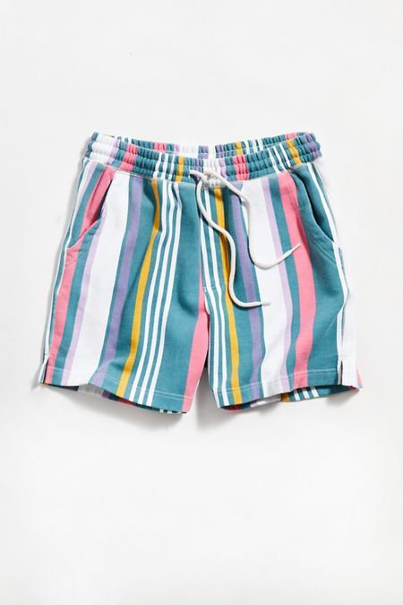 Check out UO Lucien Stripe Volley Short from Urban Outfitters Casual Sport Coats, Men Casual, Casual Attire, Smart Casual Evening Wear, Black High Waisted Bikini, Grey Trousers, Khaki Pants, Leather Shorts, Jogger Pants