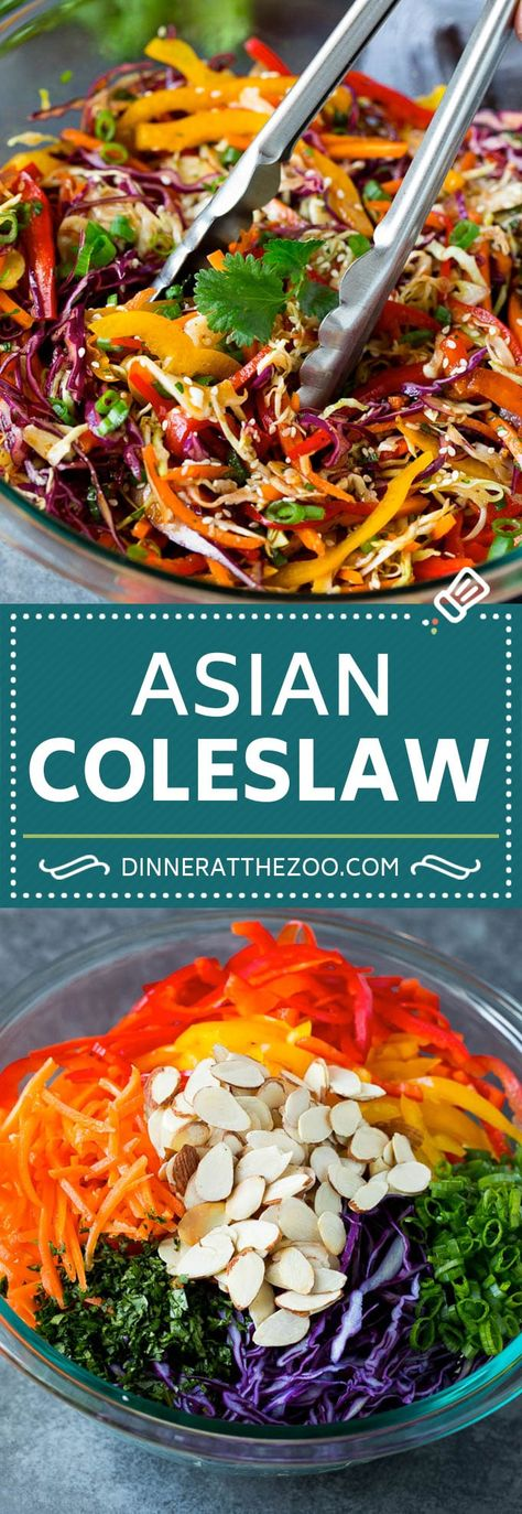 Asian Slaw Recipe #salad #slaw #sidedish #dinneratthezoo