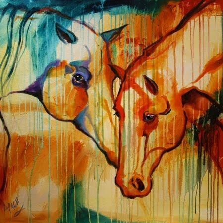 Most Popular Contemporary Artists | ... Art Colorful Abstract Horse Oil  Painting by Texas