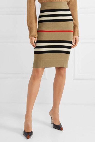 Burberry Striped Merino Wool Skirt Wool Skirts Leotard Fashion Fashion