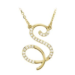 Diamond Script Initial Necklace In 14 Karat Yellow Gold Letter S Script Initial Necklace Initial Necklace Real Diamond Necklace