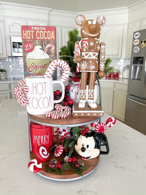 Sharing our favorite Holiday tiered trays today! Making a tiered tray can be overwhelming, today we'll show you what you need and how to create your own! Disney Kitchen Decor, Disney Home Decor, Casa Disney, Disney Diy, Disney House, Target Dollar Spot, Disney Stars, Disney Christmas Decorations, Holiday Decor
