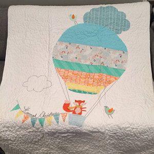 Chevron Blanket Air Balloon Baby Blanket Applique Baby Blanket Nursery Blanket Minky Baby Blanket