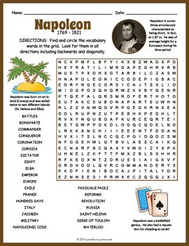 Napoleon Word Search Worksheet Social Studies Worksheets