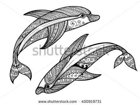Zentangle Vector Sea Dolphin Ornamental Tribal Patterned