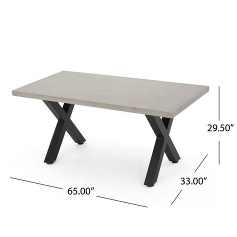 Noble House Black Rectangular Stone And Metal Outdoor Dining Table 16539 The Home Depot In 2020 Concrete Dining Table Rectangle Dining Table Rectangular Dining Table