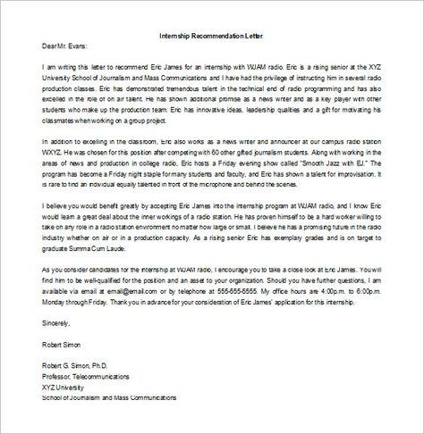 8+ Letters of Recommendation for Internship \u2013 Free Sample, Example - internship thank you letter
