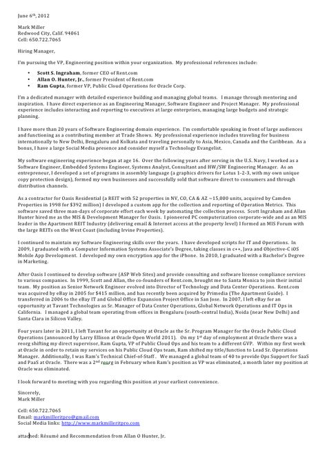 My Software Development Management Cover Letter My Resume - software developer cover letter