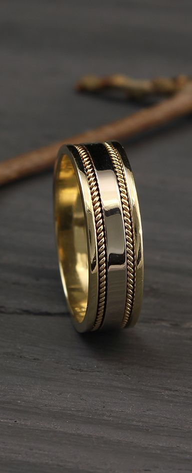 Men S Two Tone Gold Unique Wedding Band By Weddingringsstore Mens Gold Wedding Band Two Color Mens Gold Wedding Band Mens Wedding Rings Gold Mens Gold Rings