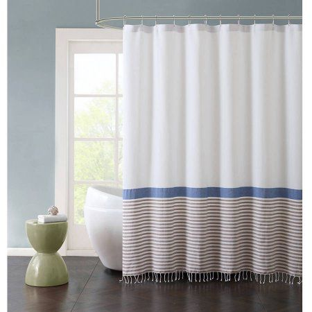 Better Homes And Gardens Striped Fringe Shower Curtain White