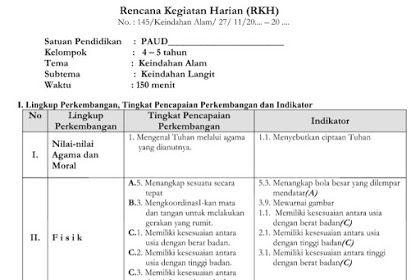 Contoh Rkh Rpph Paud Tema Keindahan Alam K13 Kurikulum Pendidikan Dunia
