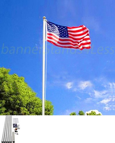 20 Ft Sectional Aluminum Flagpole Us American Usa 3x5 Flag Pole Gold Ball Kit Flag Pole Flag Flag Pole Kits