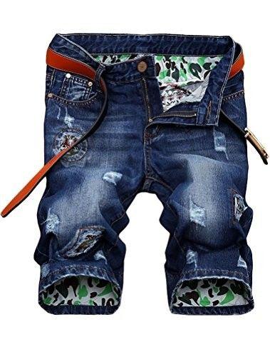 Mens vintage  Hole patch Denim jeans Ripped denim Short JeansShorts pants