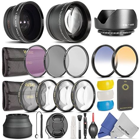 52mm Essential Accessory Kit for Nikon DSLR Bundle with Vivitar Wide Angle Lens and Telephoto Lens