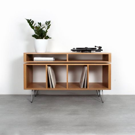 Oak Vinyl Storage Record Player Stand With Media Storage Console