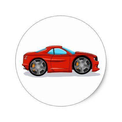 Car Racing Car Cartoon For Kids Classic Round Sticker Zazzle