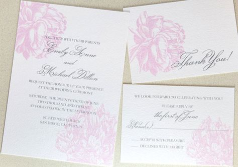 Peony Wedding Invitation Suite by encrestudio on Etsy, $3.50